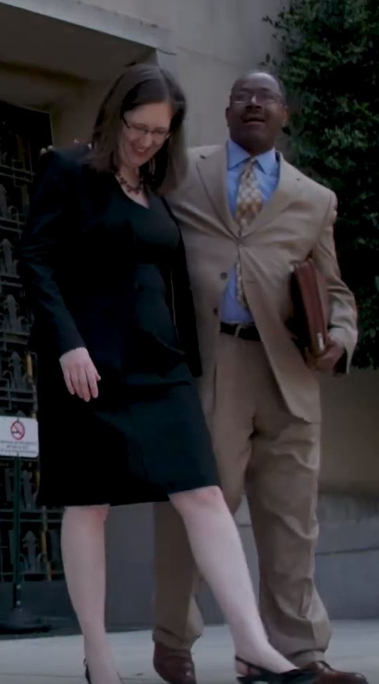 Jenn Klar and Ray Moore at Courthouse