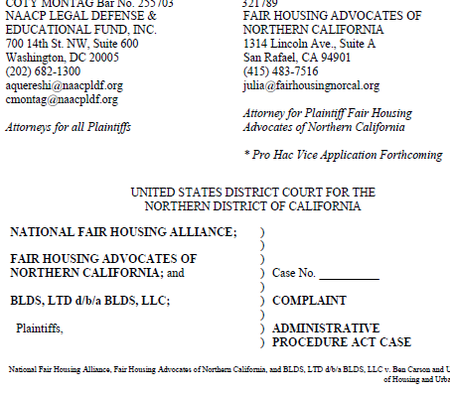 Relman Colfax Sues HUD For Gutting Disparate Impact Under the Fair Housing Act