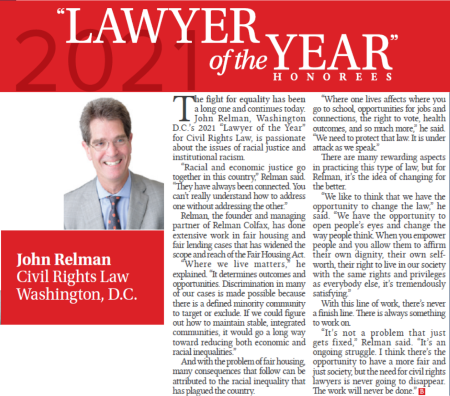 John Relman Named Washington, D.C. Civil Rights Lawyer of the Year